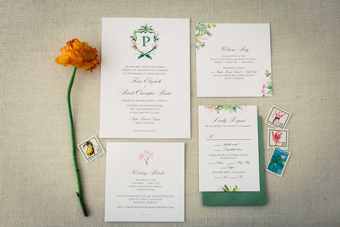 Wedding stationary, flower and stamps