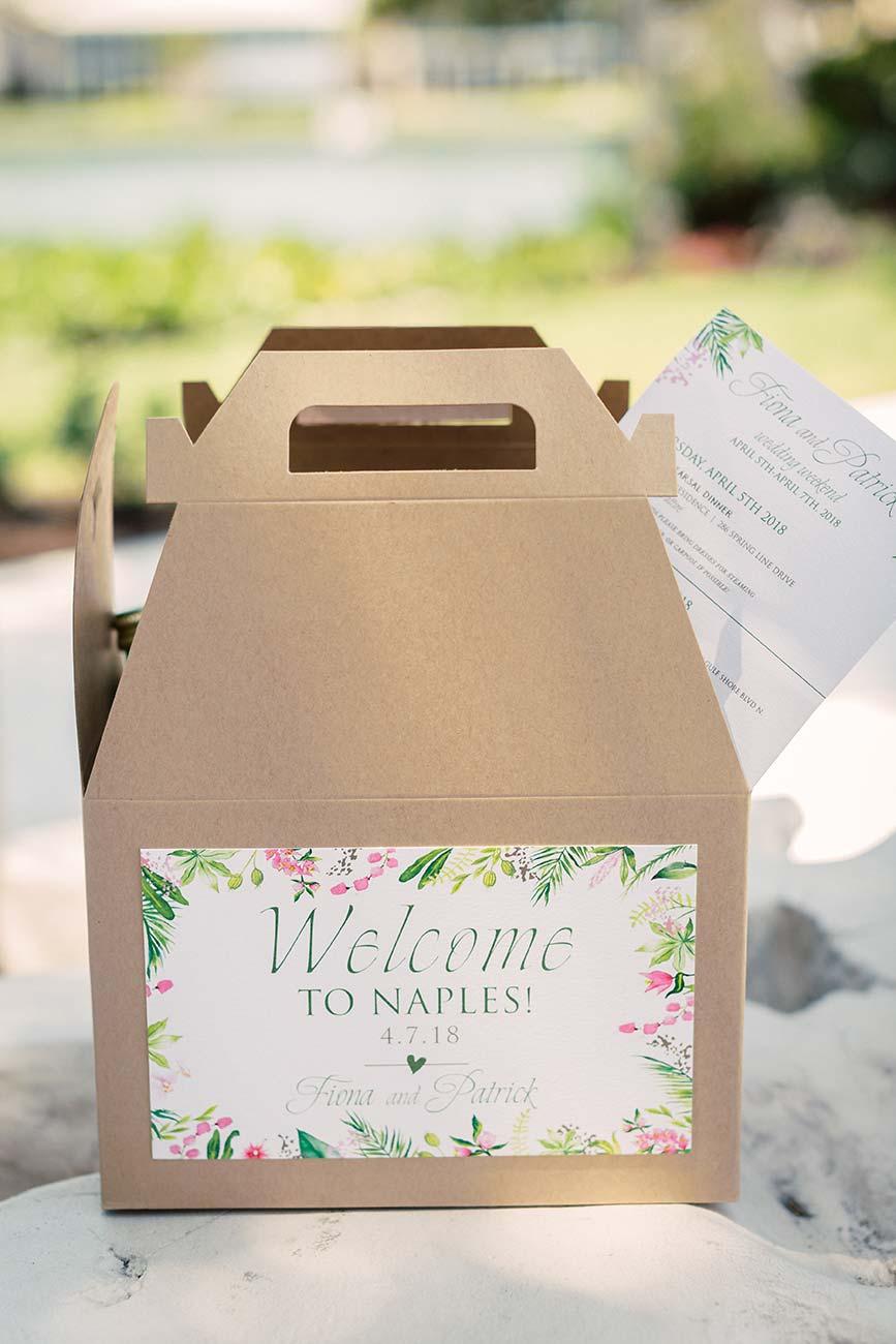 Wedding guest goody box