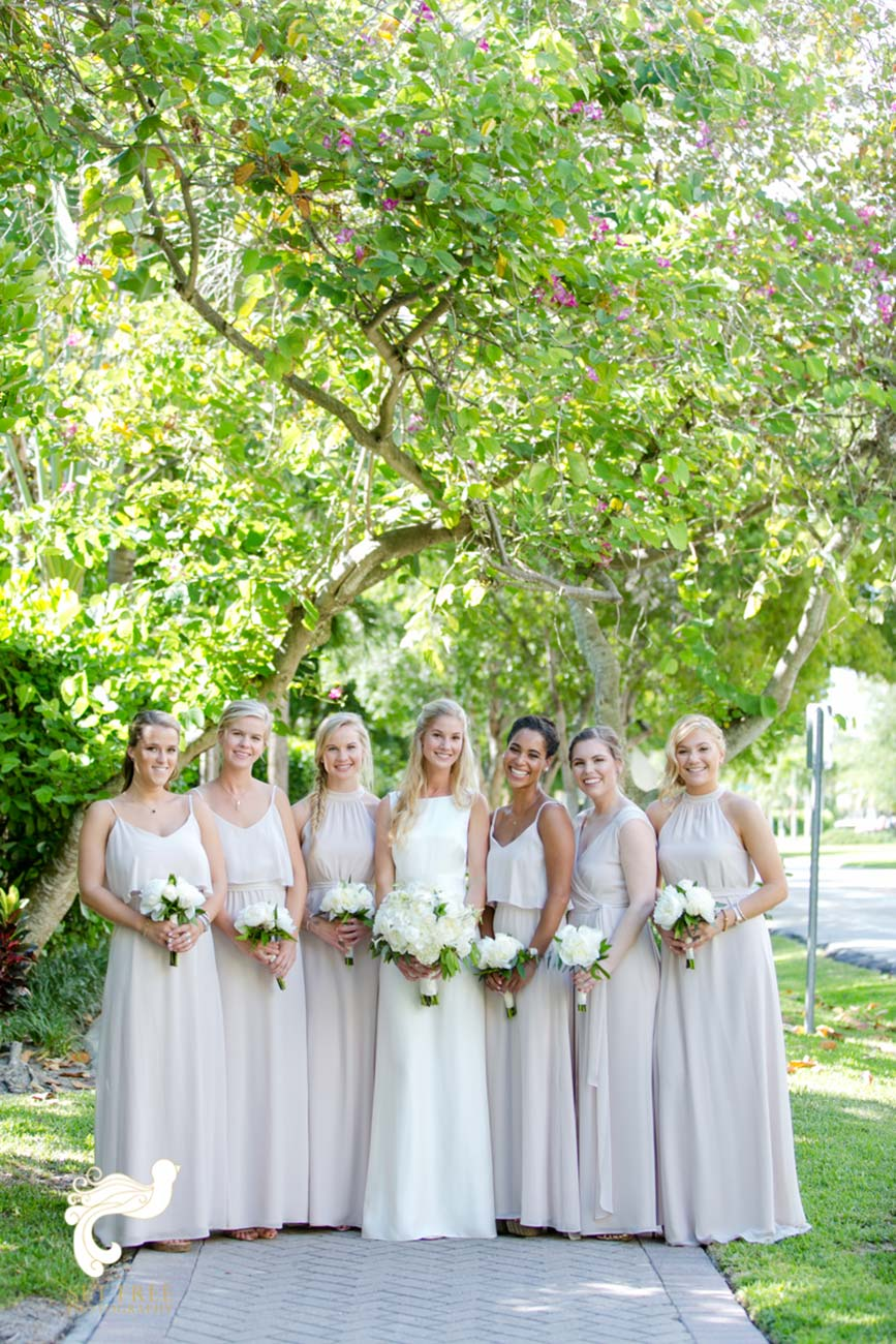 Outdoor portrait of bride and bridesmaids
