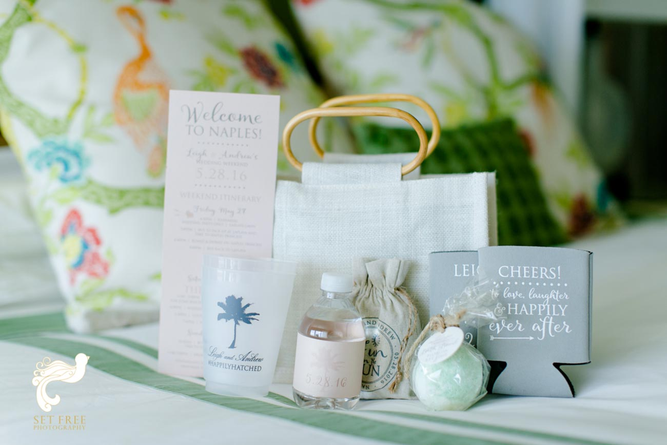 Wedding guest goody bag, soap, can cooler, candles