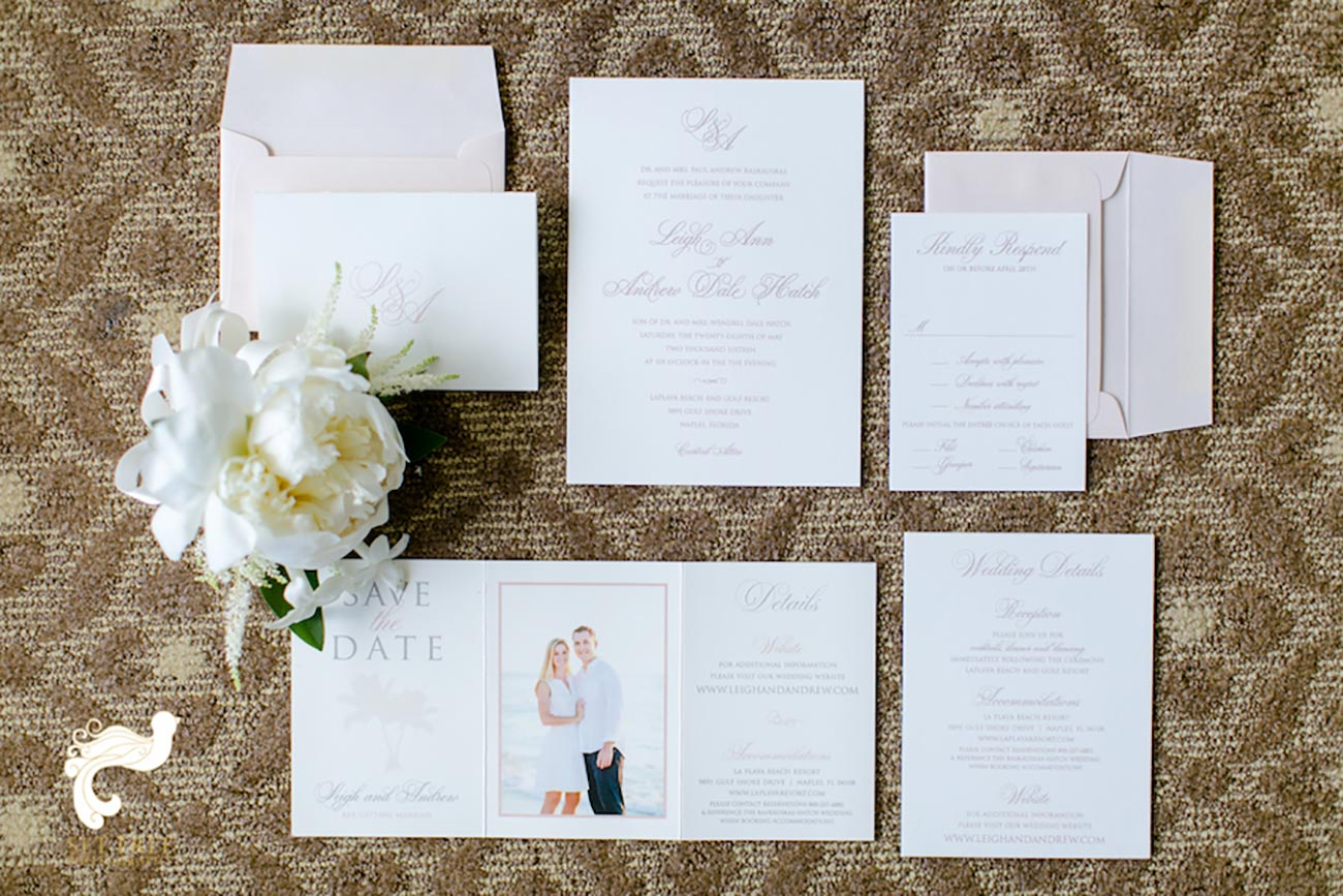 Wedding stationary with flowers