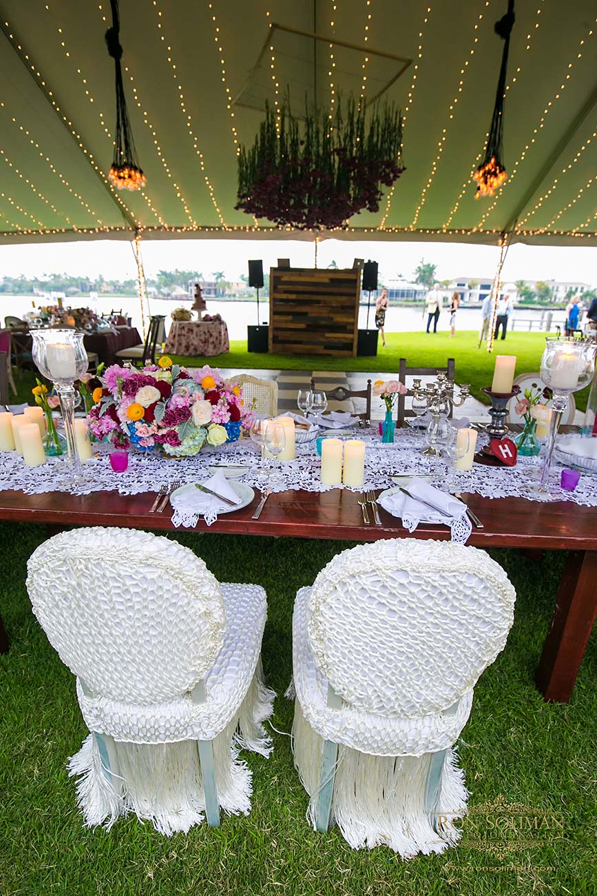 Bride and groom's wedding reception table top design, inside their wedding day tent