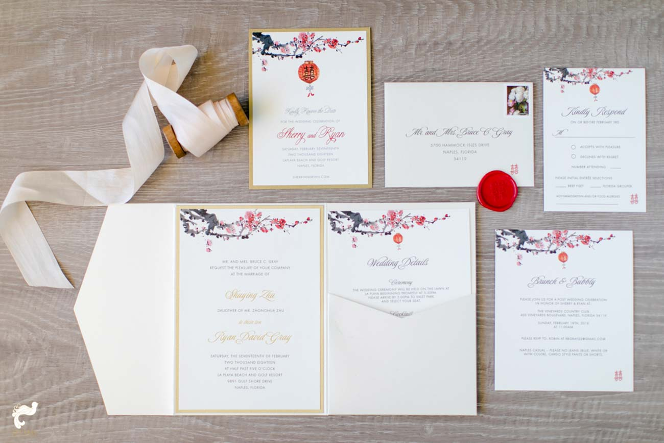 Wedding stationary set including white ribbon and red wax seal