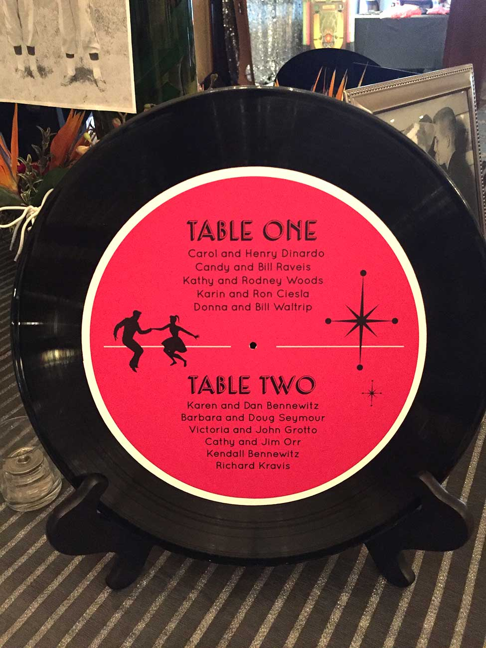 Table seating chart on a record