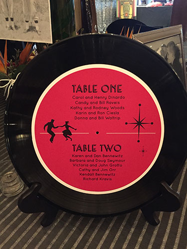 Record on table that serves as the placement seating chart for guests