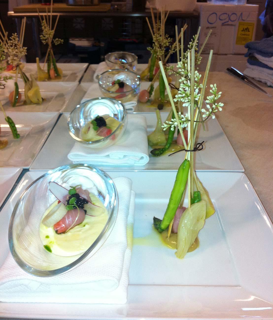 Plates of gourmet food