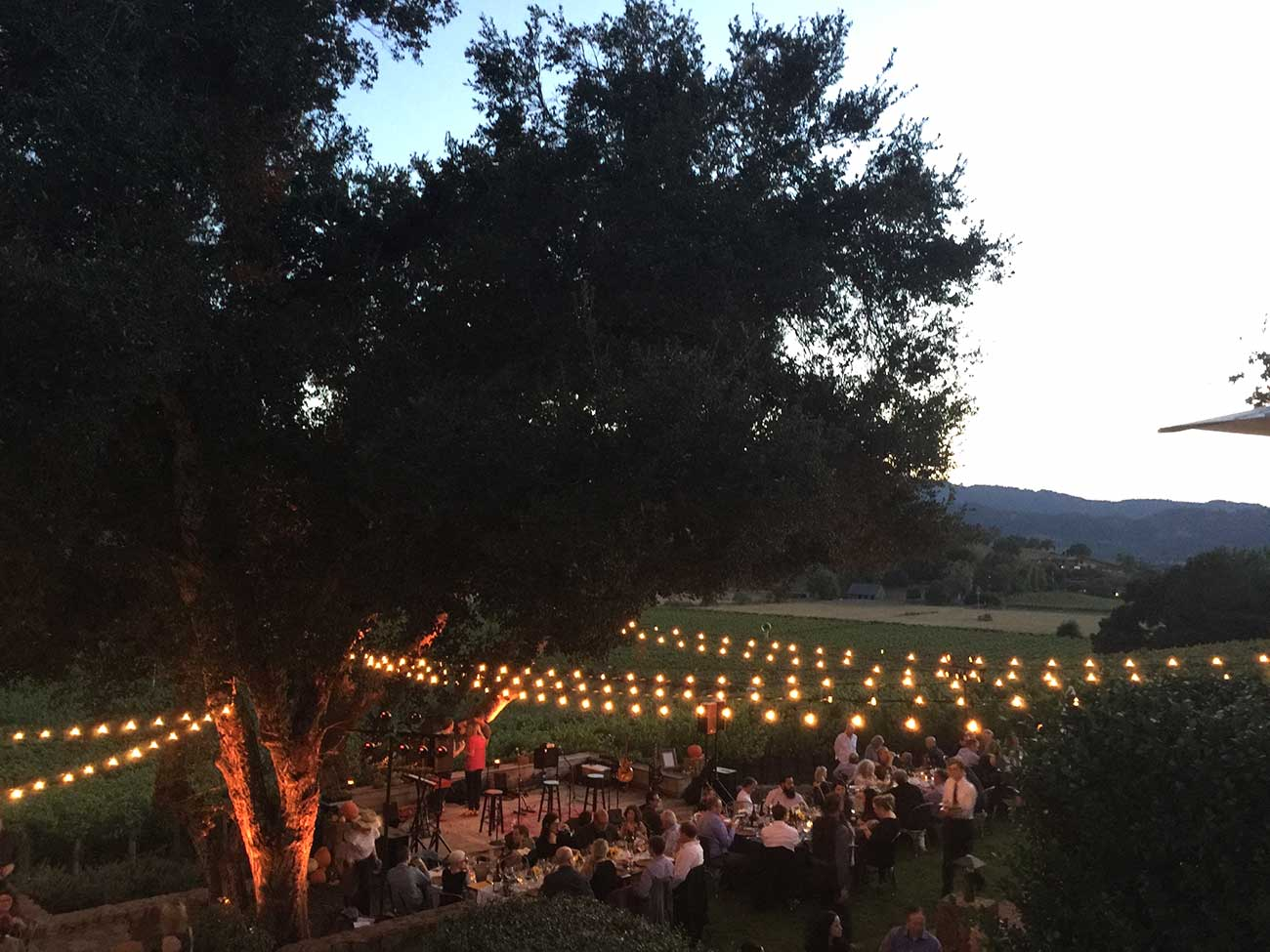People mingling at dusk at an outdoor event overlooking Napa valley