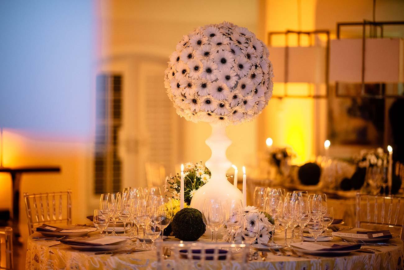 White daisies in a white vase tabletop design for Naples Wine Festival Hamel